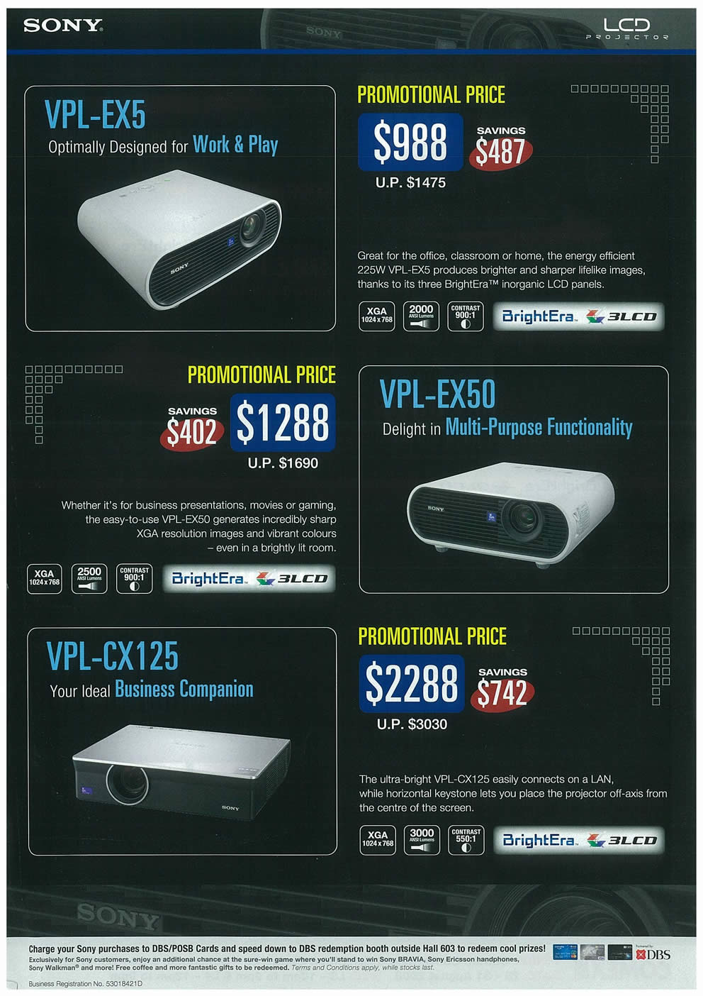 Comex 2008 price list image brochure of Sony LCD Projectors Page 2