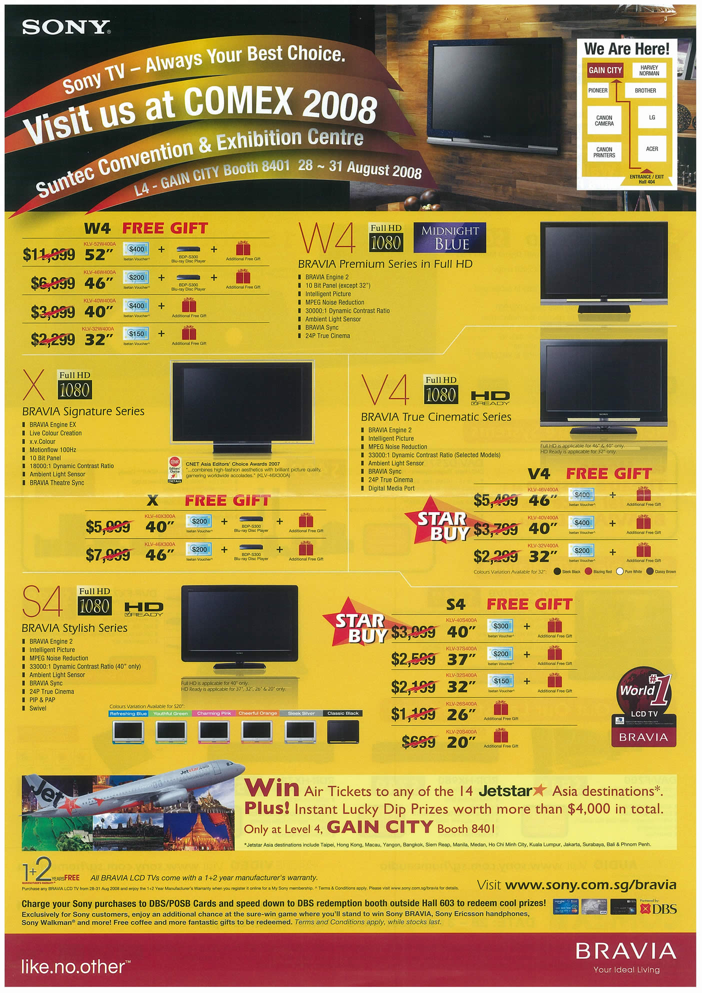 Comex 2008 price list image brochure of Sony LCD TVs Page 1
