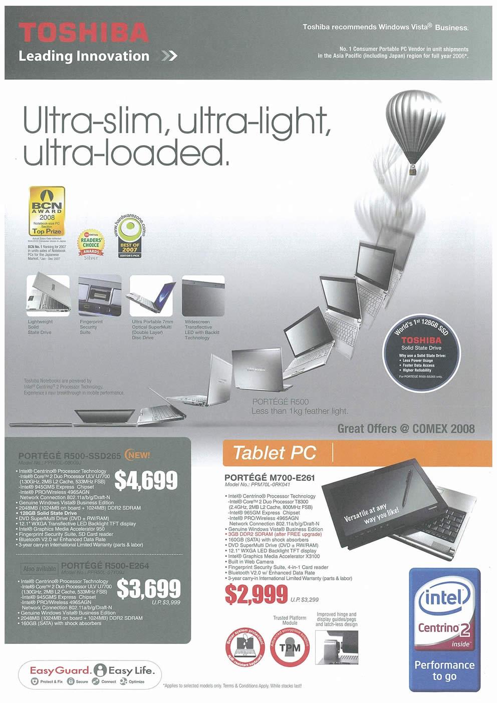 Comex 2008 price list image brochure of Toshiba Notebooks 01 Page 1