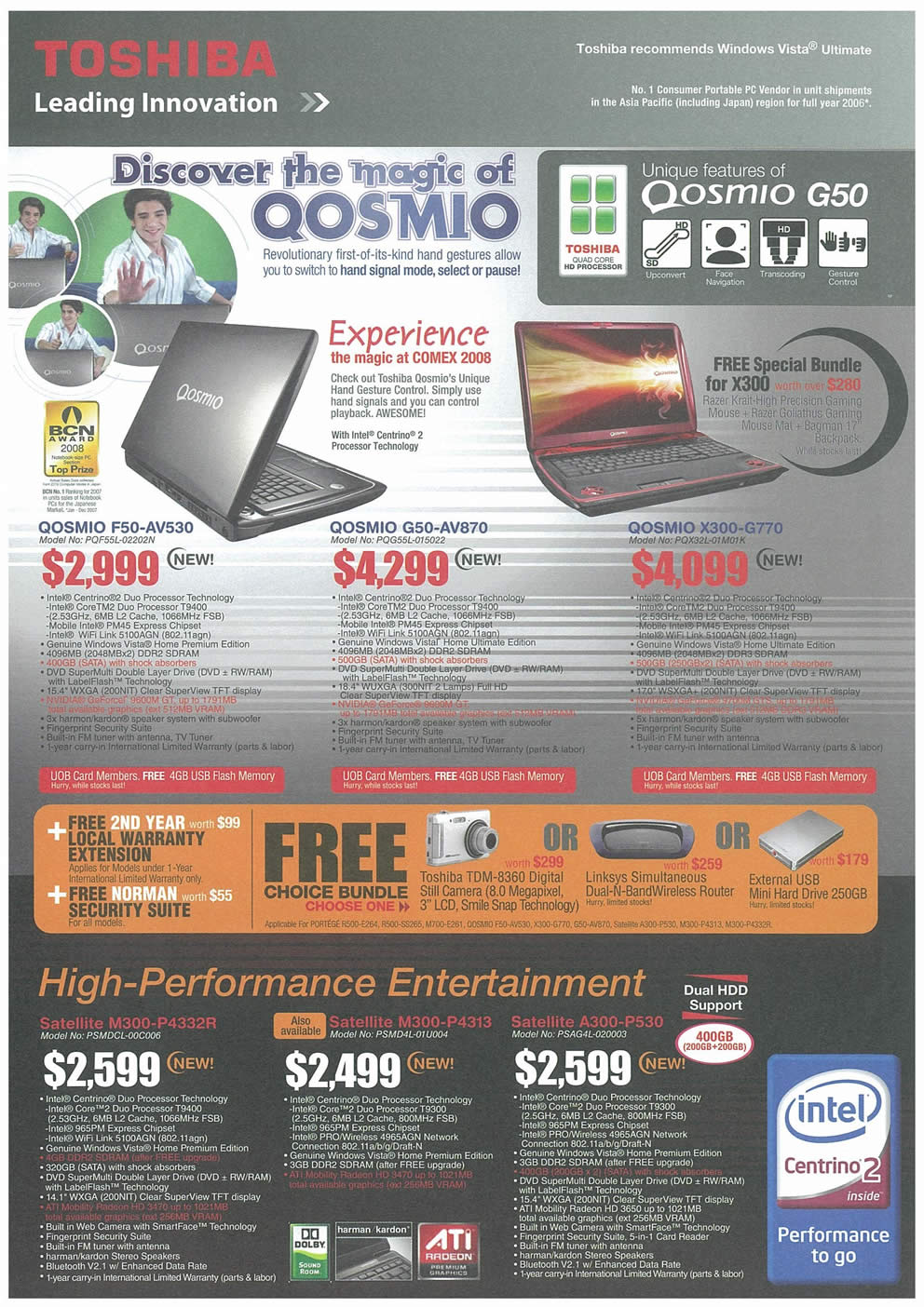 Comex 2008 price list image brochure of Toshiba Notebooks 01 Page 2