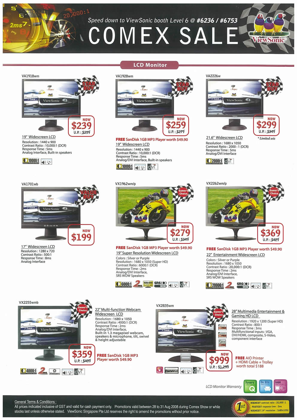 Comex 2008 price list image brochure of Viewsonic LCD Monitors Page 1