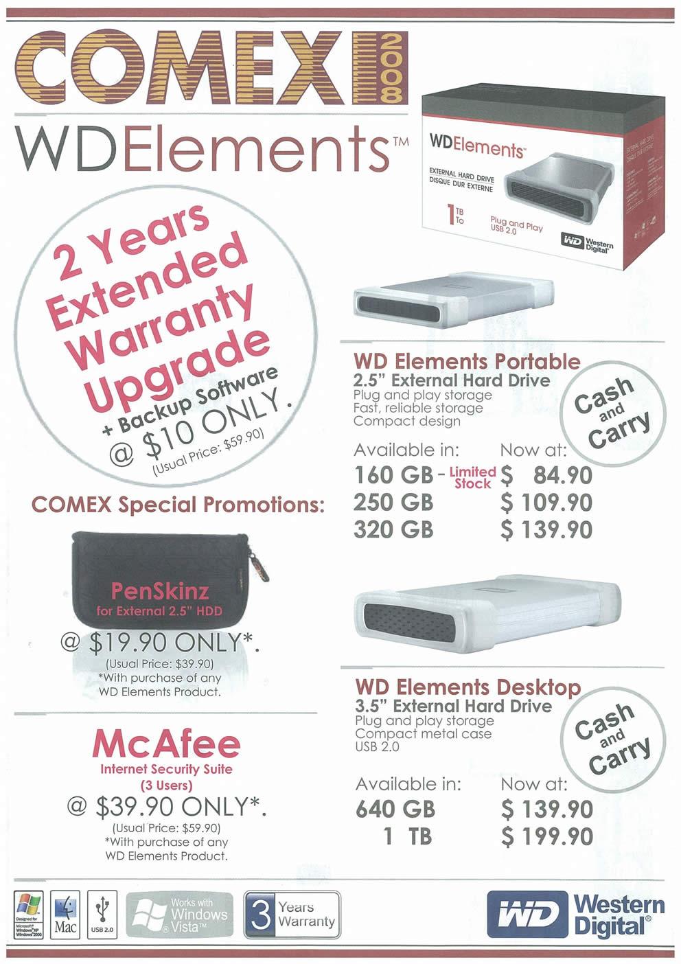 Comex 2008 price list image brochure of Western Digital Elements
