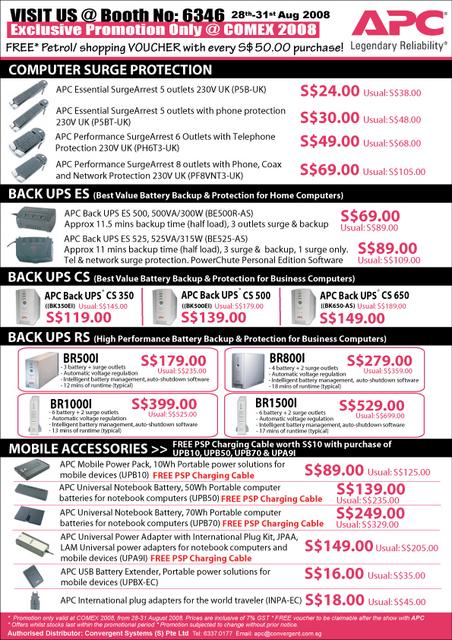 Comex 2008 price list image brochure of Apc Ups Comex2008pr7