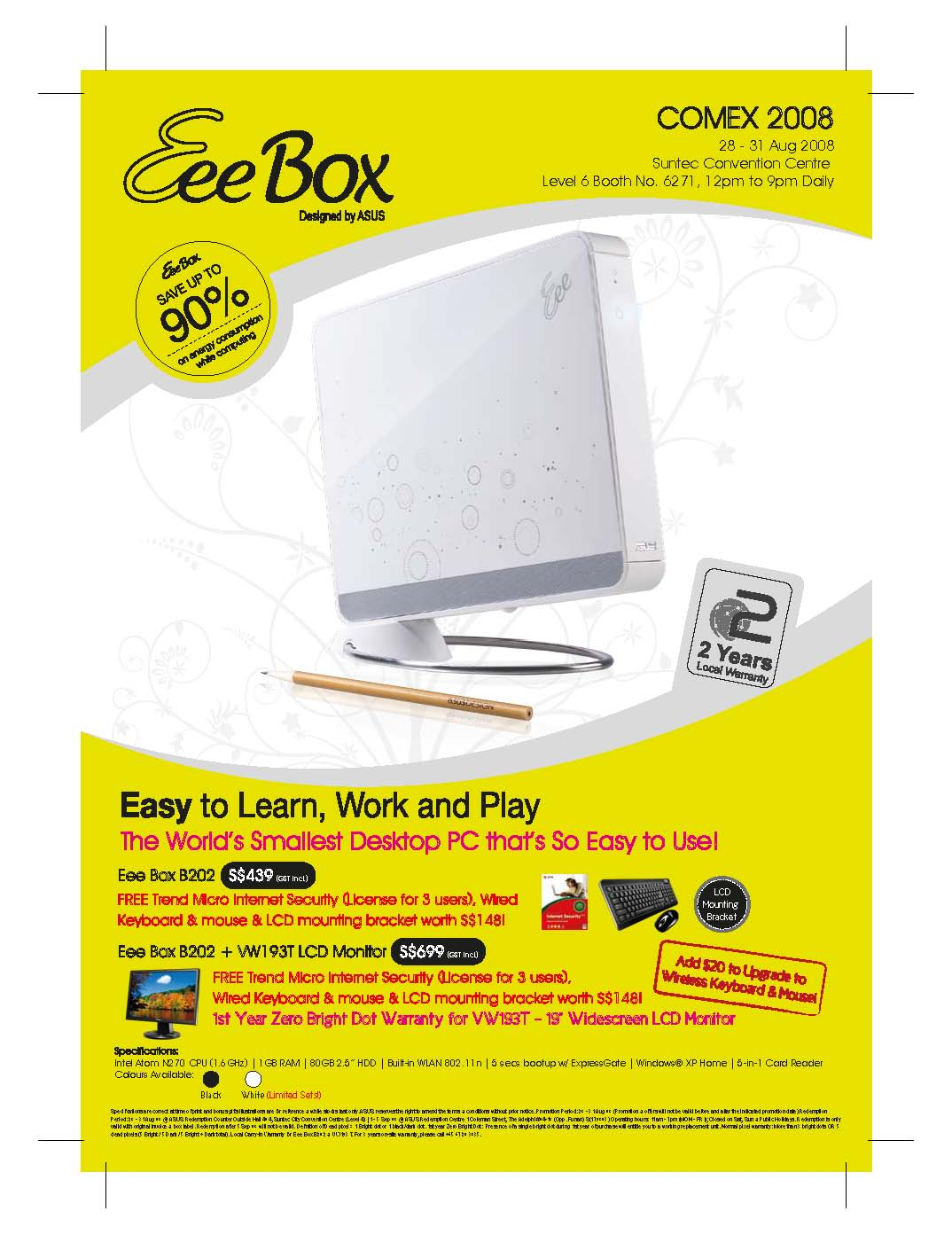 Comex 2008 price list image brochure of Asus EeeBox Flyer