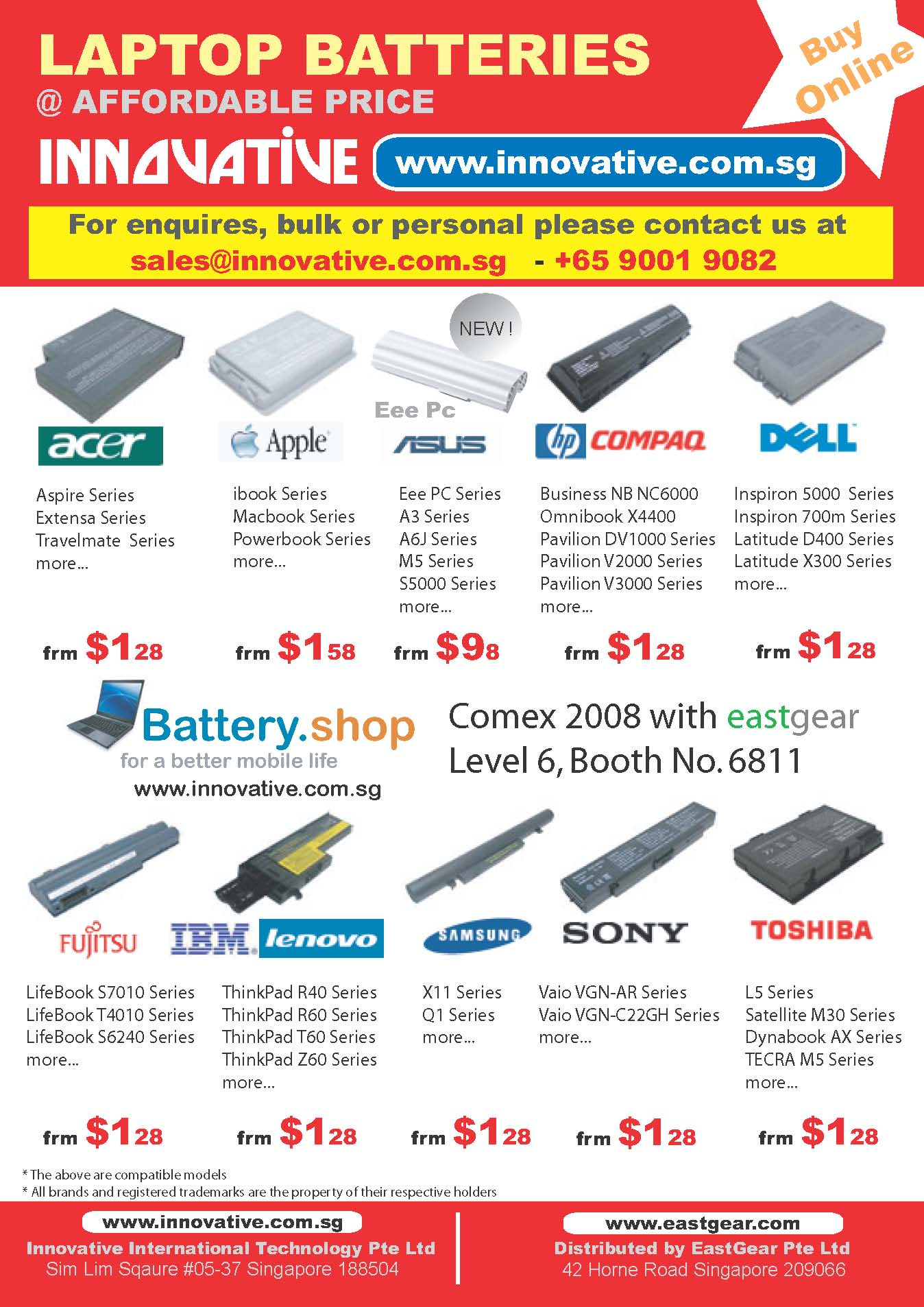 Comex 2008 price list image brochure of Battery Shop Innovative