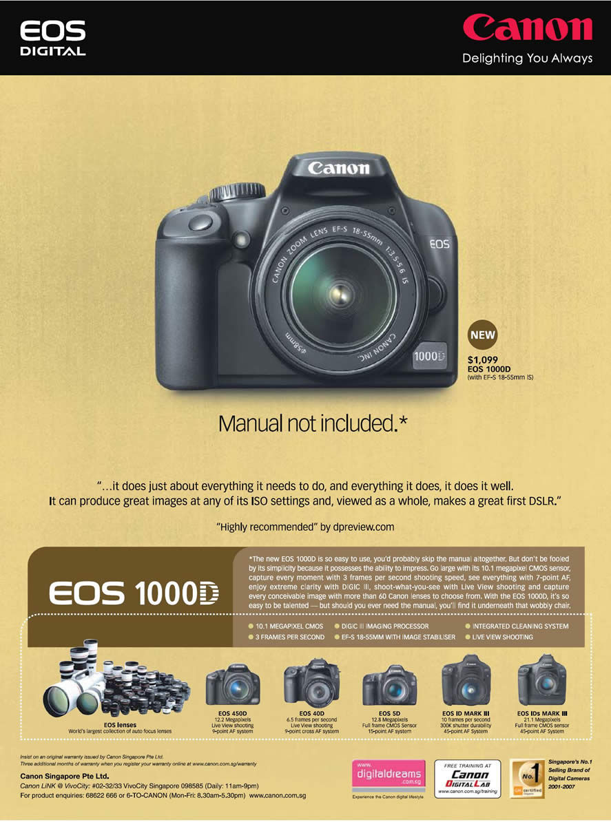 Comex 2008 price list image brochure of Canon Eos 1000d