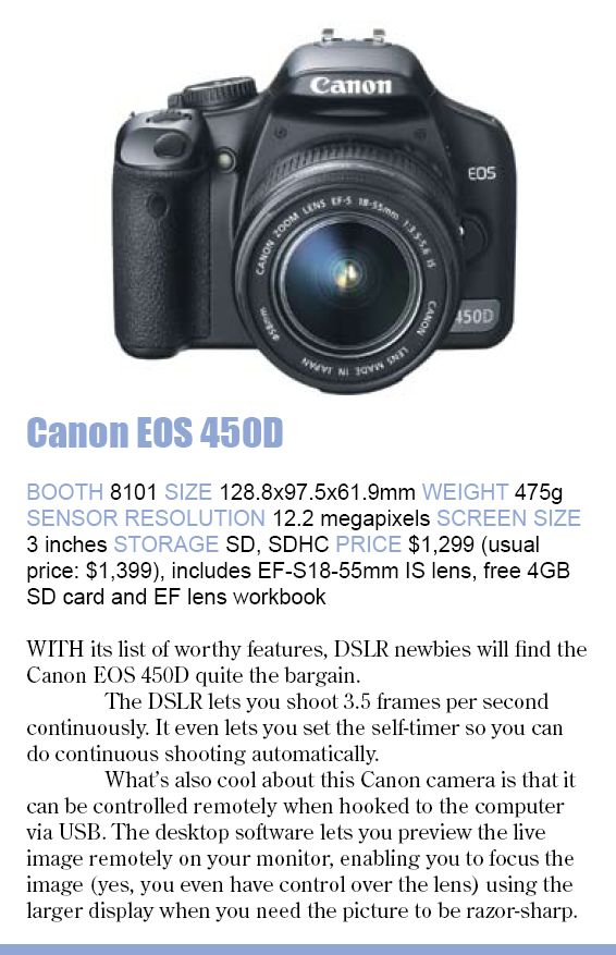 Comex 2008 price list image brochure of Canon Eos 450d
