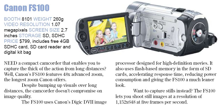 Comex 2008 price list image brochure of Canon Fs100 Camcorder
