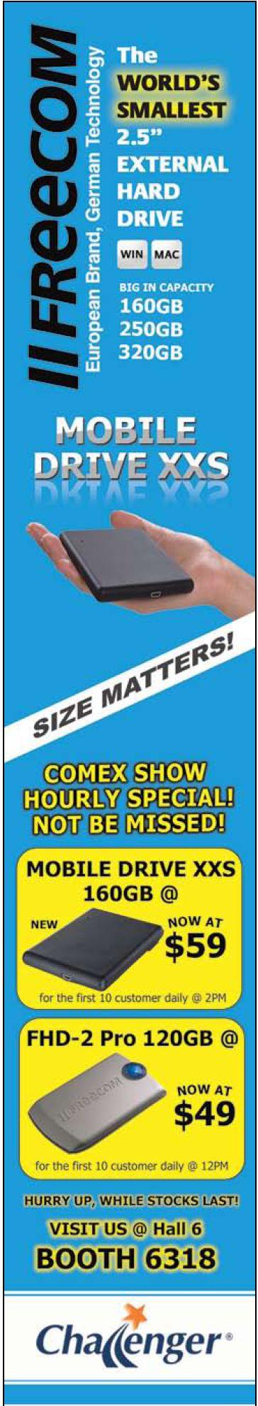 Comex 2008 price list image brochure of Freecom Mobile Drive Xxs Hard Disk