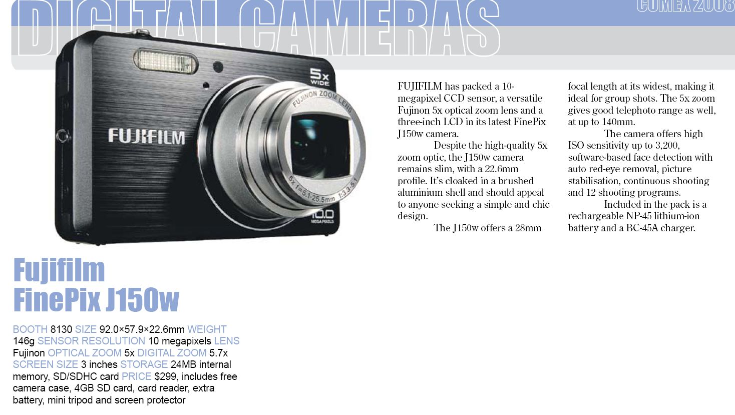 Comex 2008 price list image brochure of Fujifilm Finepix J150w