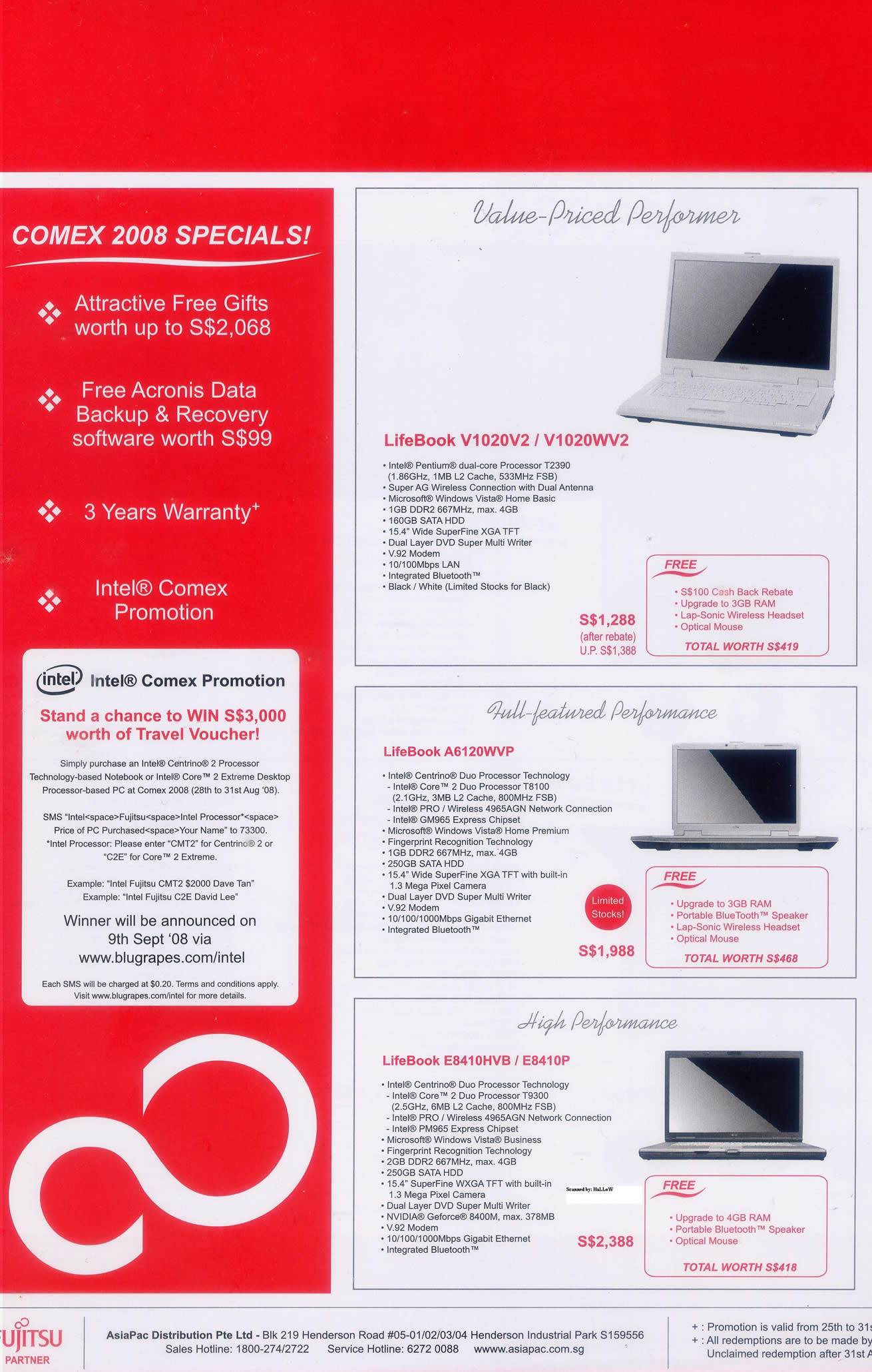 Comex 2008 price list image brochure of Fujitsu 2