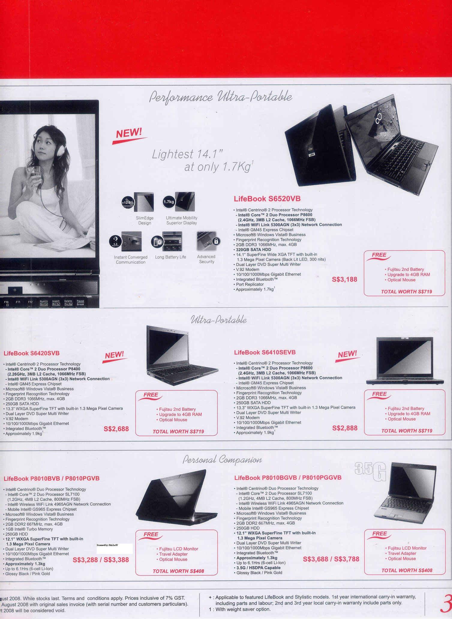 Comex 2008 price list image brochure of Fujitsu Notebook 3