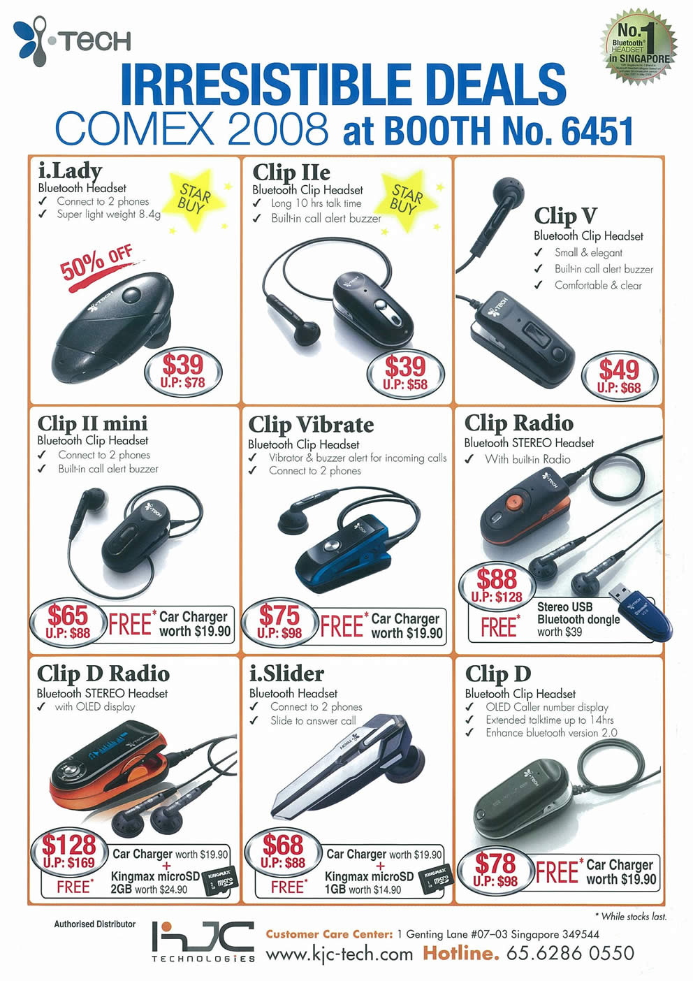 Comex 2008 price list image brochure of I.Tech Bluetooth Headset Page 2