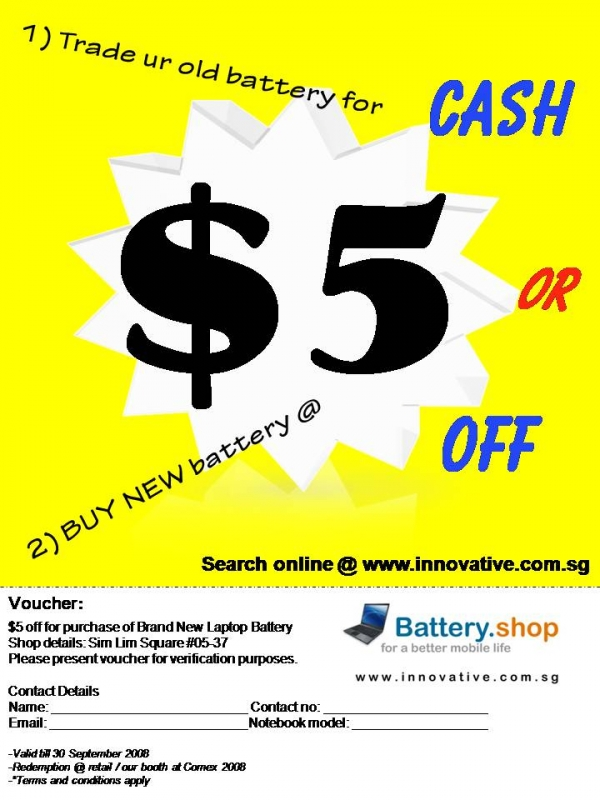 Comex 2008 price list image brochure of Innovative A9nest Battery