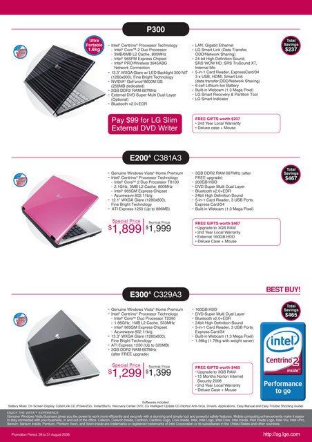 Comex 2008 price list image brochure of Lg Laptop 3