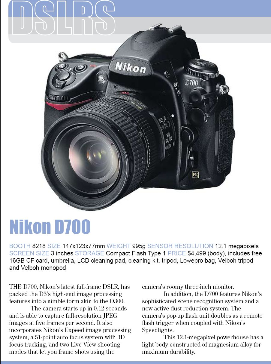 Comex 2008 price list image brochure of Nikon D700