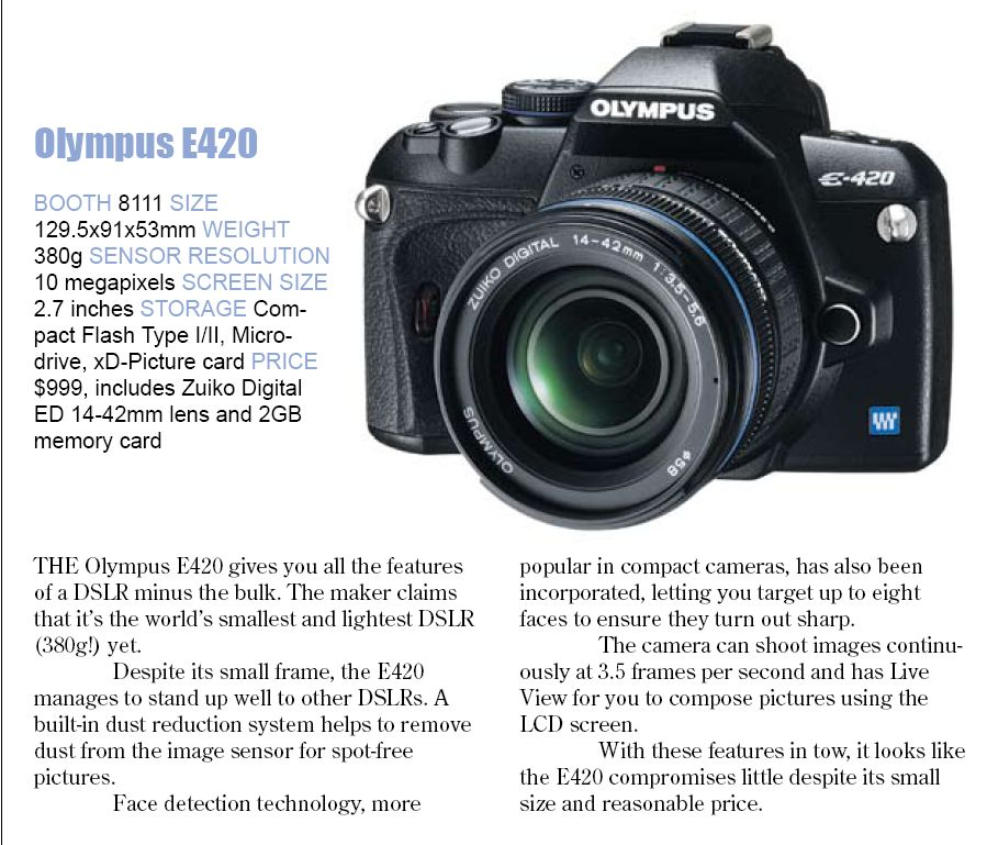 Comex 2008 price list image brochure of Olympus E420
