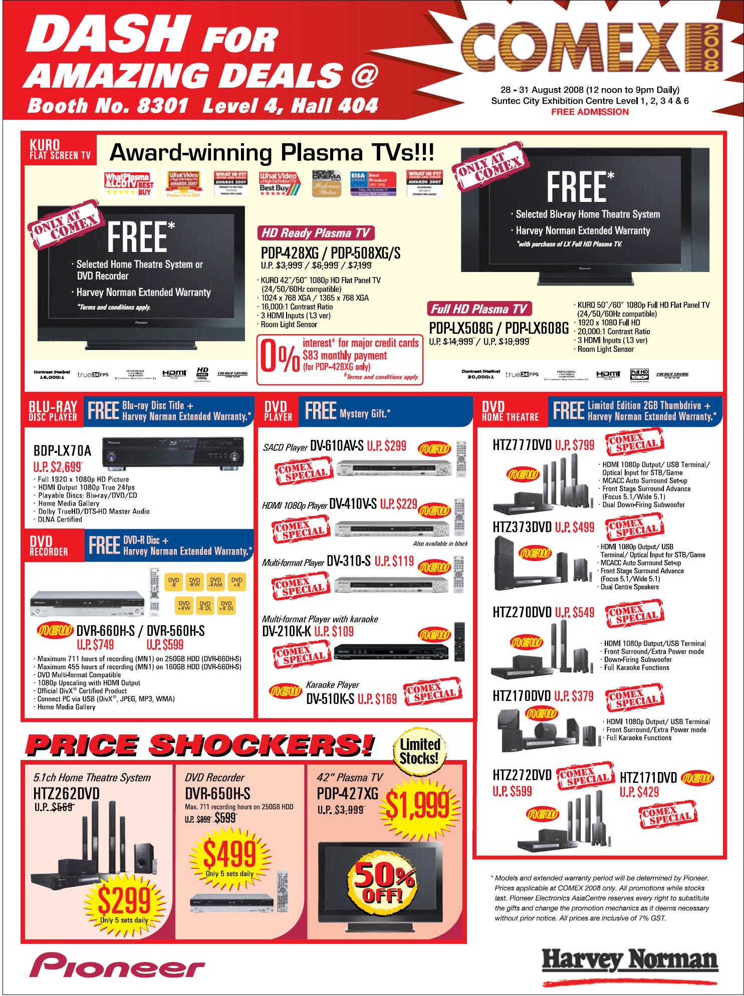 Comex 2008 price list image brochure of Pioneer