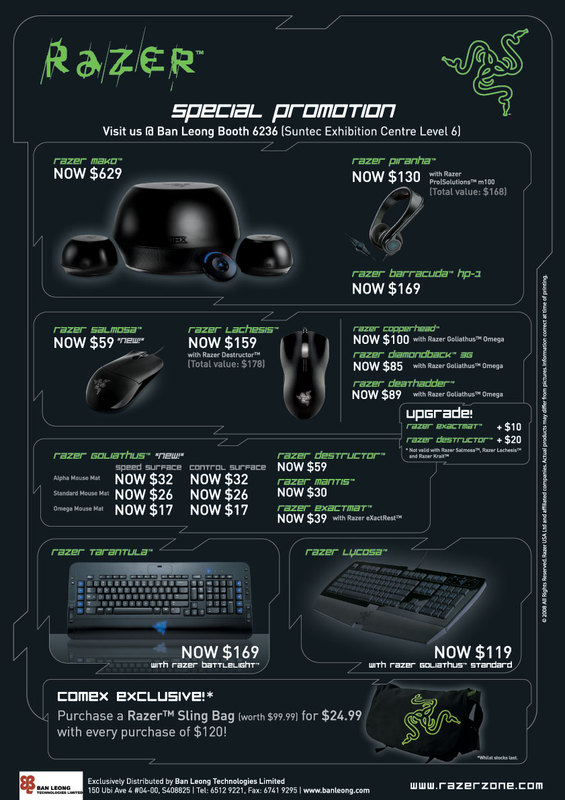Comex 2008 price list image brochure of Razer Comex