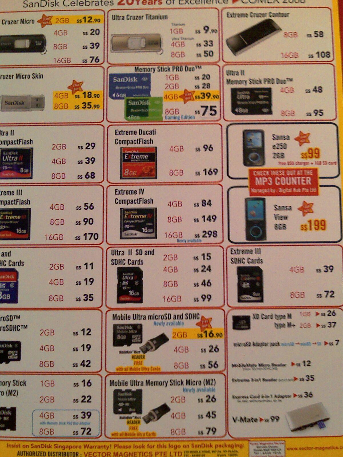Comex 2008 price list image brochure of Sandisk As1