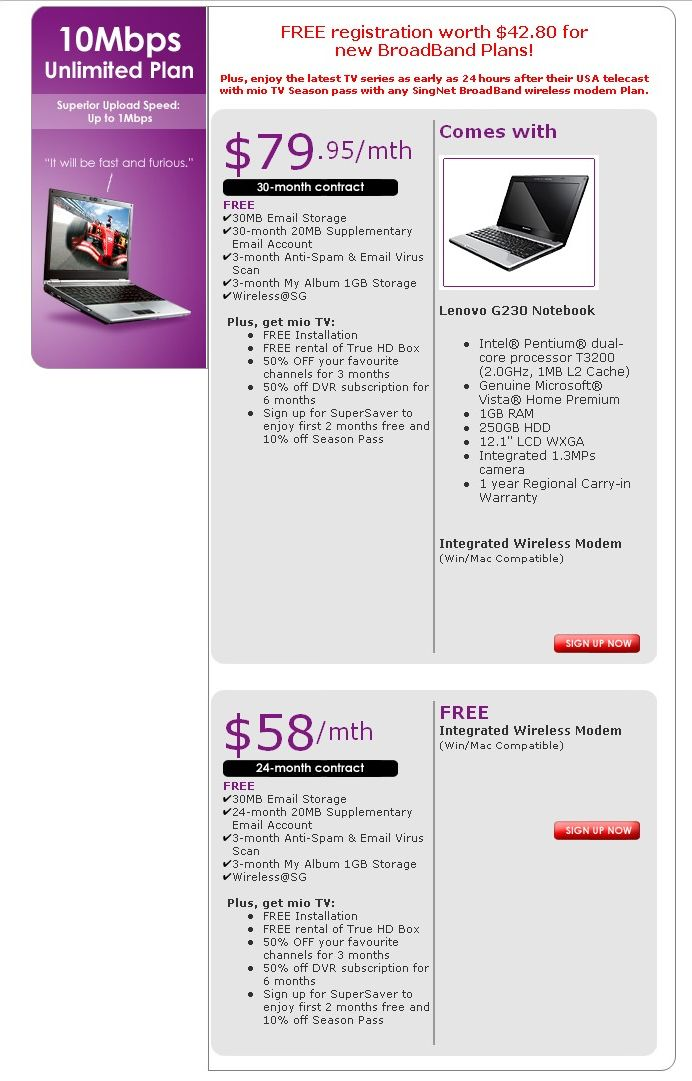 Comex 2008 price list image brochure of Singnet 10mbps