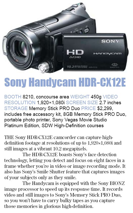Comex 2008 price list image brochure of Sony Handycam Hdr Cx12e