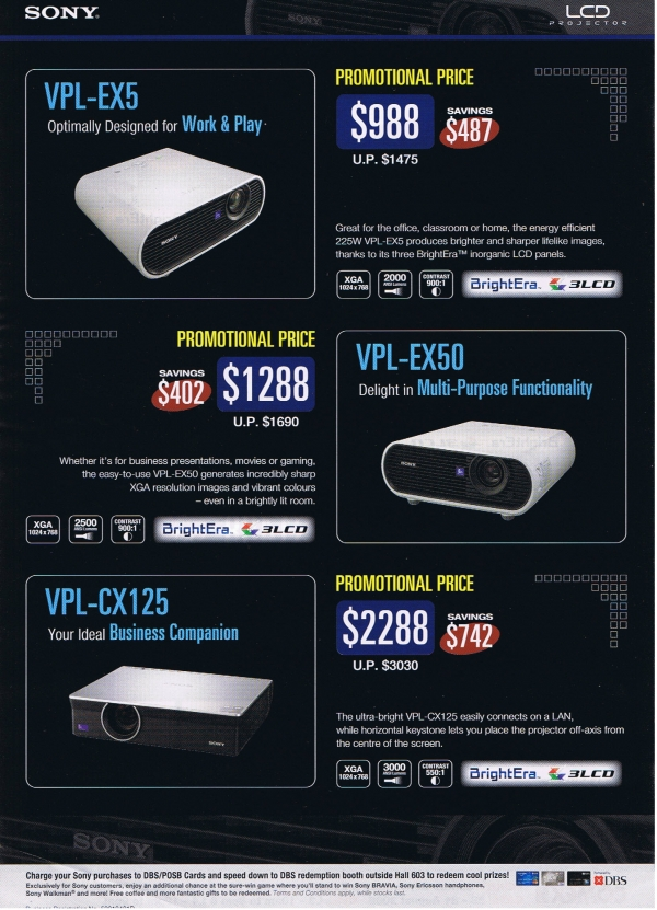 Comex 2008 price list image brochure of Sony Projectors 2 Psychosnake