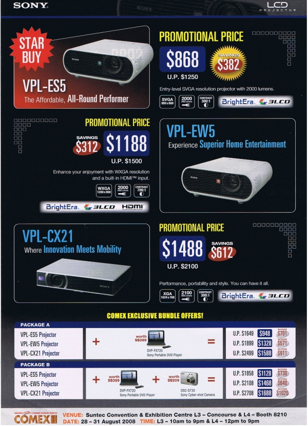 Comex 2008 price list image brochure of Sony Projectors Psychosnake