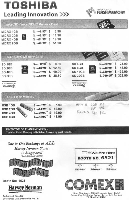 Comex 2008 price list image brochure of Toshiba Flash Memory As1