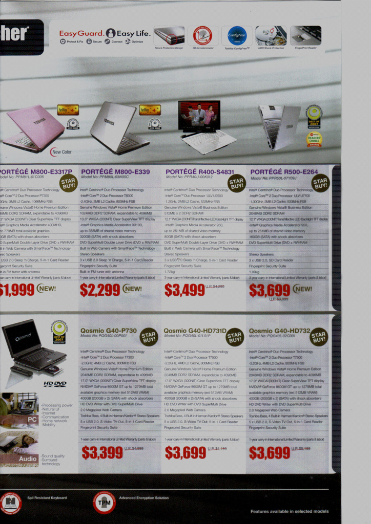 Comex 2008 price list image brochure of Toshiba Laptops Maayub152799685393 A29dfaefc9 B