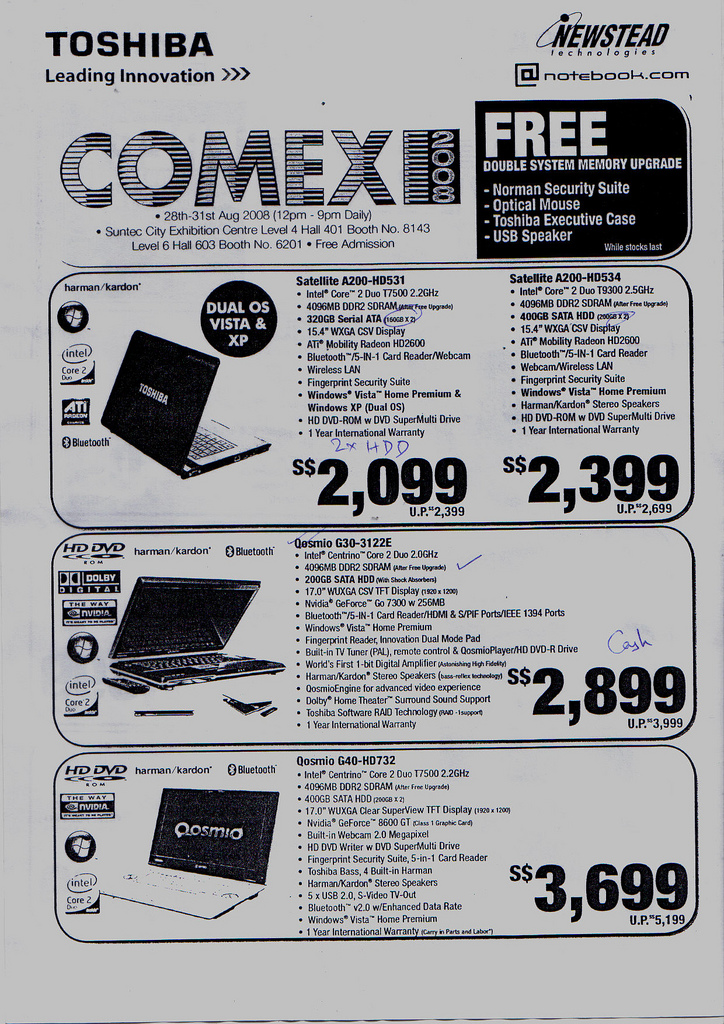 Comex 2008 price list image brochure of Toshiba Notebooks Maayub15 49cd6d14d7 B