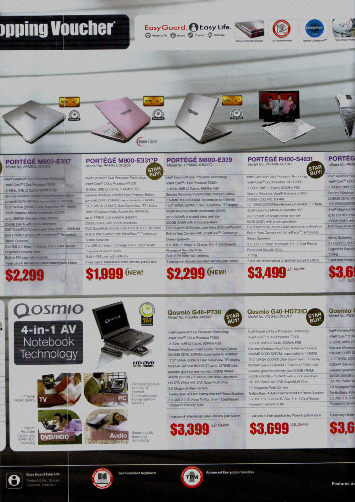 Comex 2008 price list image brochure of Toshiba Notebooks Maayub15toshiba F4feed4018 B