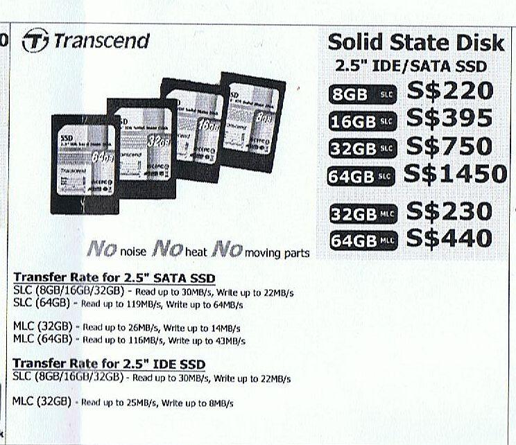 Comex 2008 price list image brochure of Transcend Sata Ssd