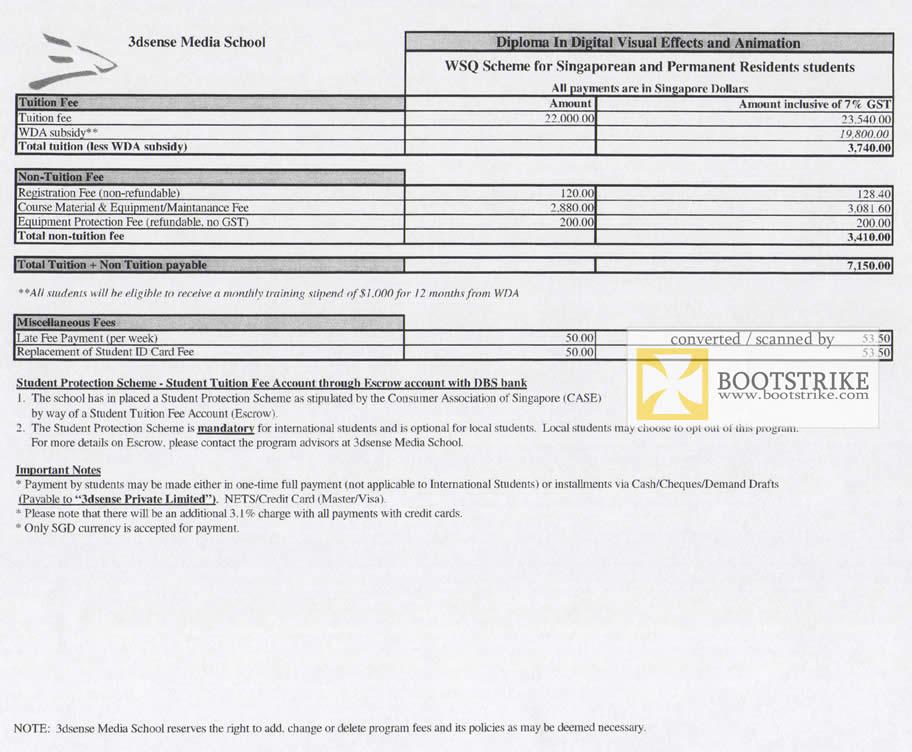 Comex 2009 price list image brochure of 3dSense Media School Diploma Digital Visual Effects Fees