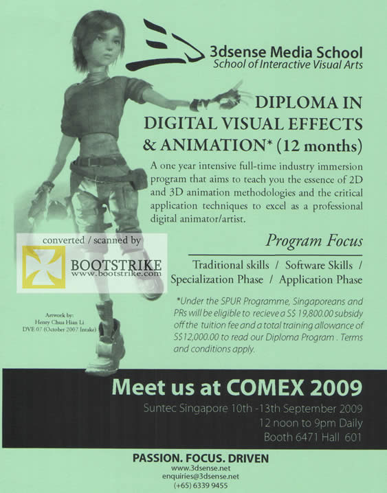 Comex 2009 price list image brochure of 3dsense Media School Diploma Digital Visual Effects