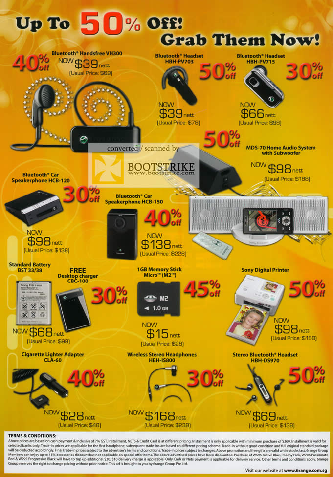 Comex 2009 price list image brochure of 6Range Bluetooth Headset Speakerphone Battery