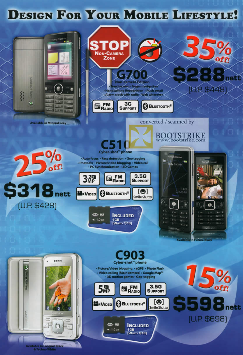 Comex 2009 price list image brochure of 6Range Mobile Phones Sony Ericsson G700 C510 C903
