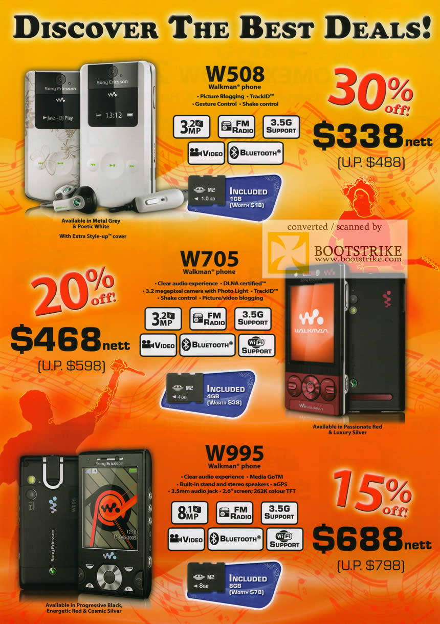 Comex 2009 price list image brochure of 6Range Mobile Phones Sony Ericsson W508 W705 W995