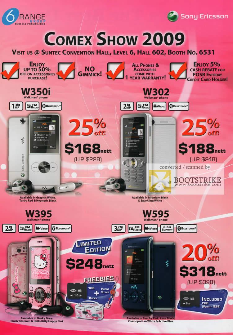 Comex 2009 price list image brochure of 6Range Sony Ericsson W350i W302 W395 W595