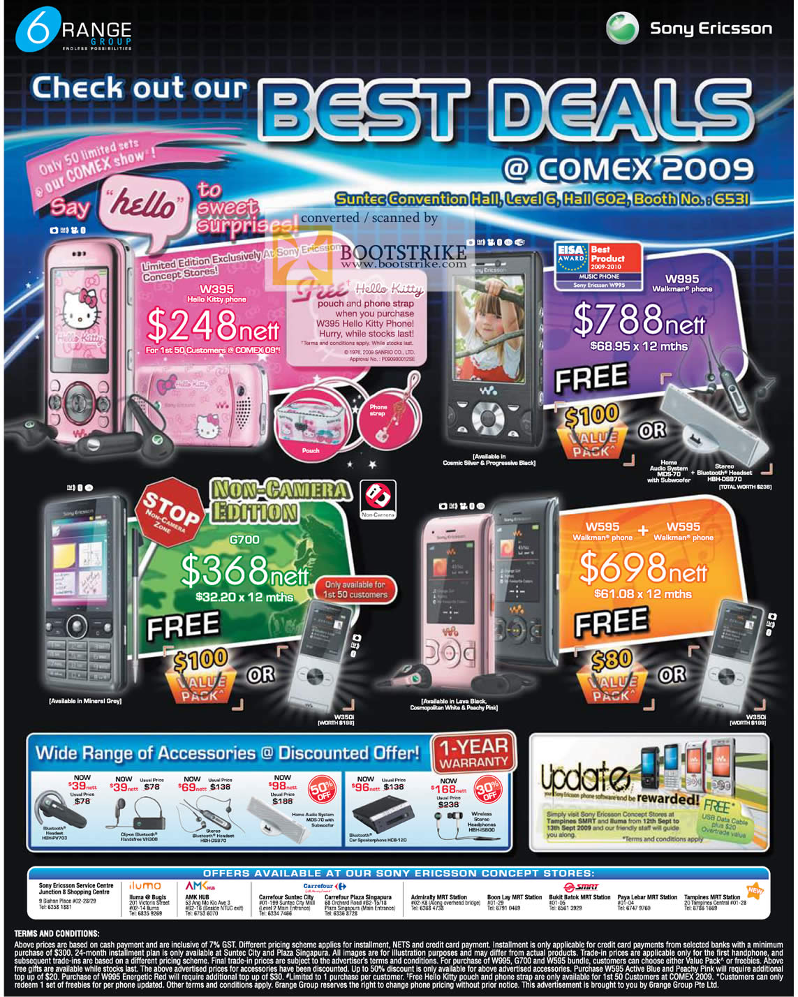 Comex 2009 price list image brochure of 6Range Sony Ericsson Walkman W395 W995 G700 W595 Hello Kitty
