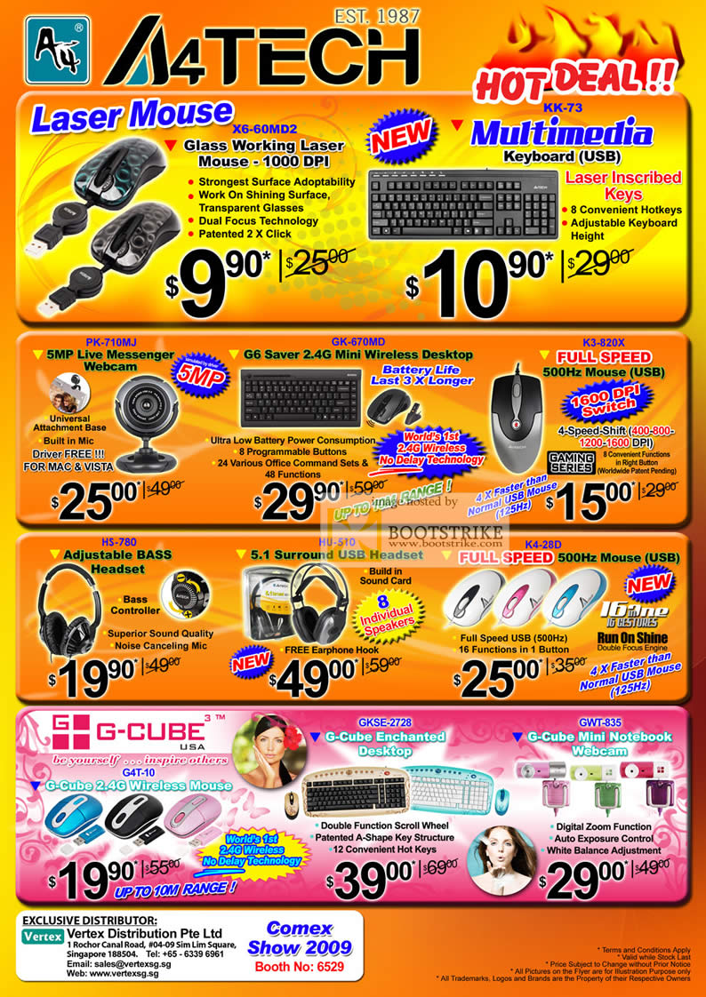 Comex 2009 price list image brochure of A4Tech Laser Mouse Keyboard WebCam G6 Wireless Headset G-Cube