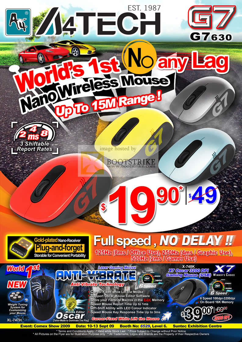 Comex 2009 price list image brochure of A4Tech Nano Wireless Mouse G7 630 Laser Gaming Mouse X7 Oscar