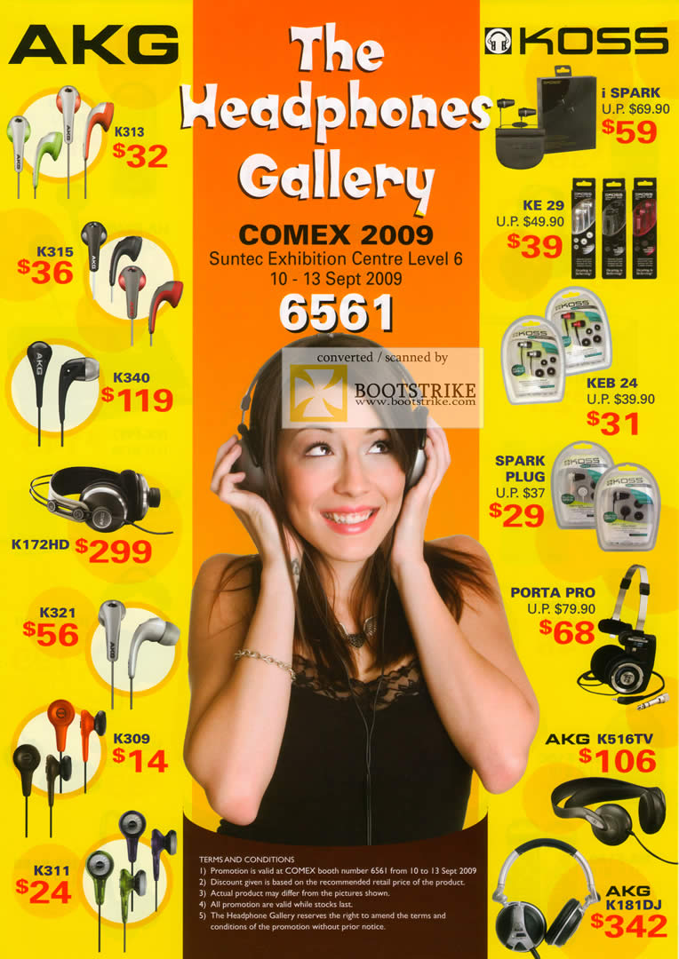 Comex 2009 price list image brochure of AKG Koss Headphones