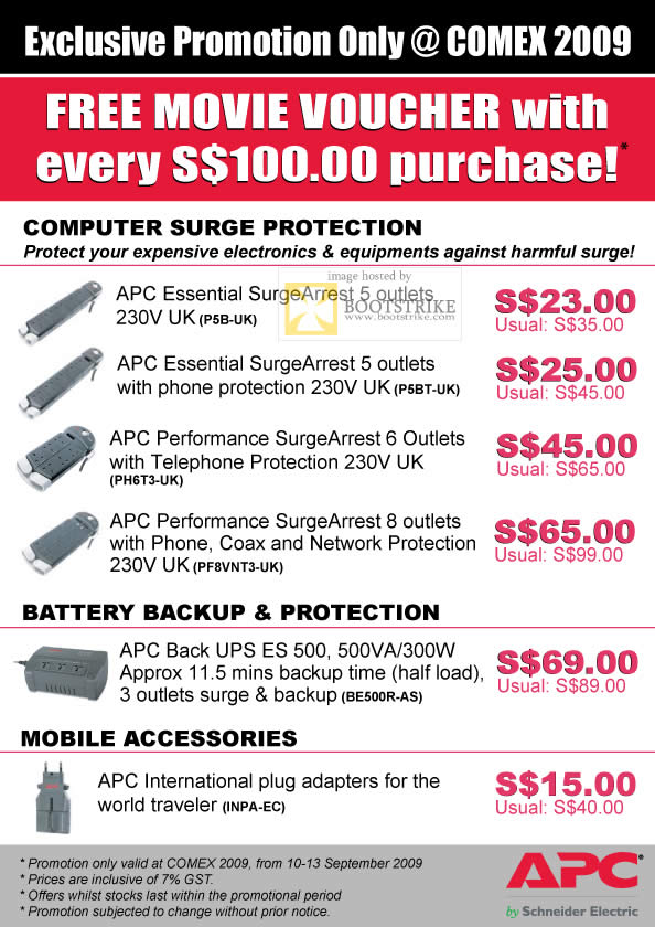 Comex 2009 price list image brochure of APC Essential SurgeArrest Performance UPS