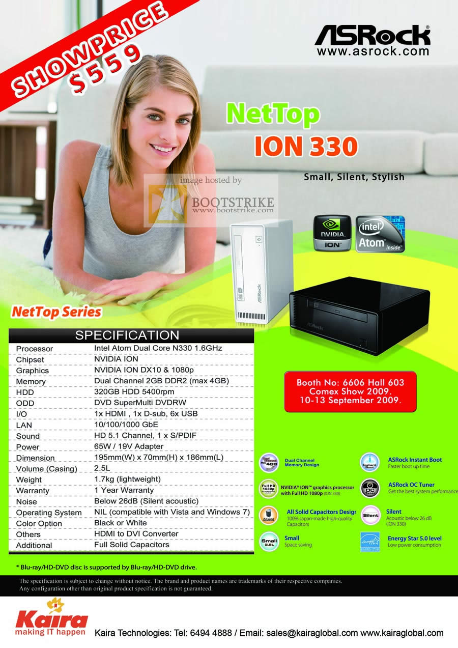 Comex 2009 price list image brochure of ASRock NetTop ION 330 UMPC