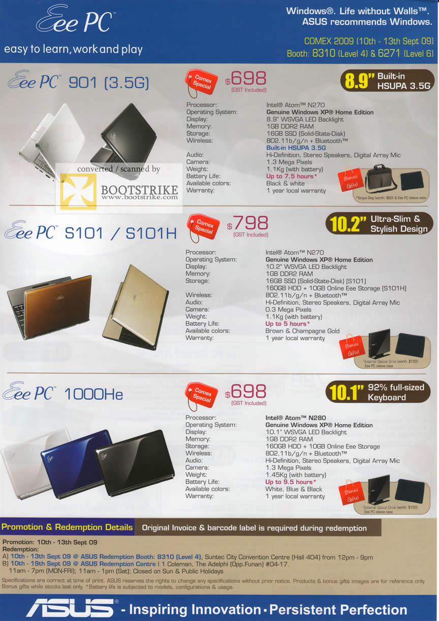 Comex 2009 price list image brochure of ASUS Eee PC 901 S101 1000He