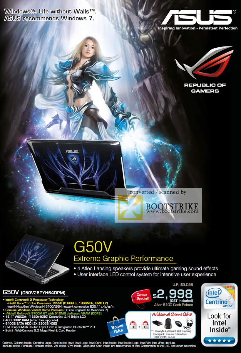 Comex 2009 price list image brochure of ASUS Extreme Graphics Notebook G50V