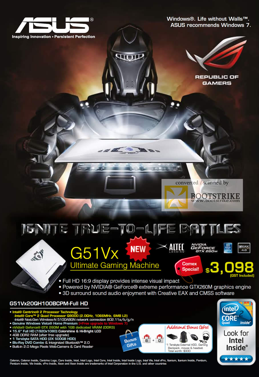 Comex 2009 price list image brochure of ASUS Gaming Notebook G51Vx