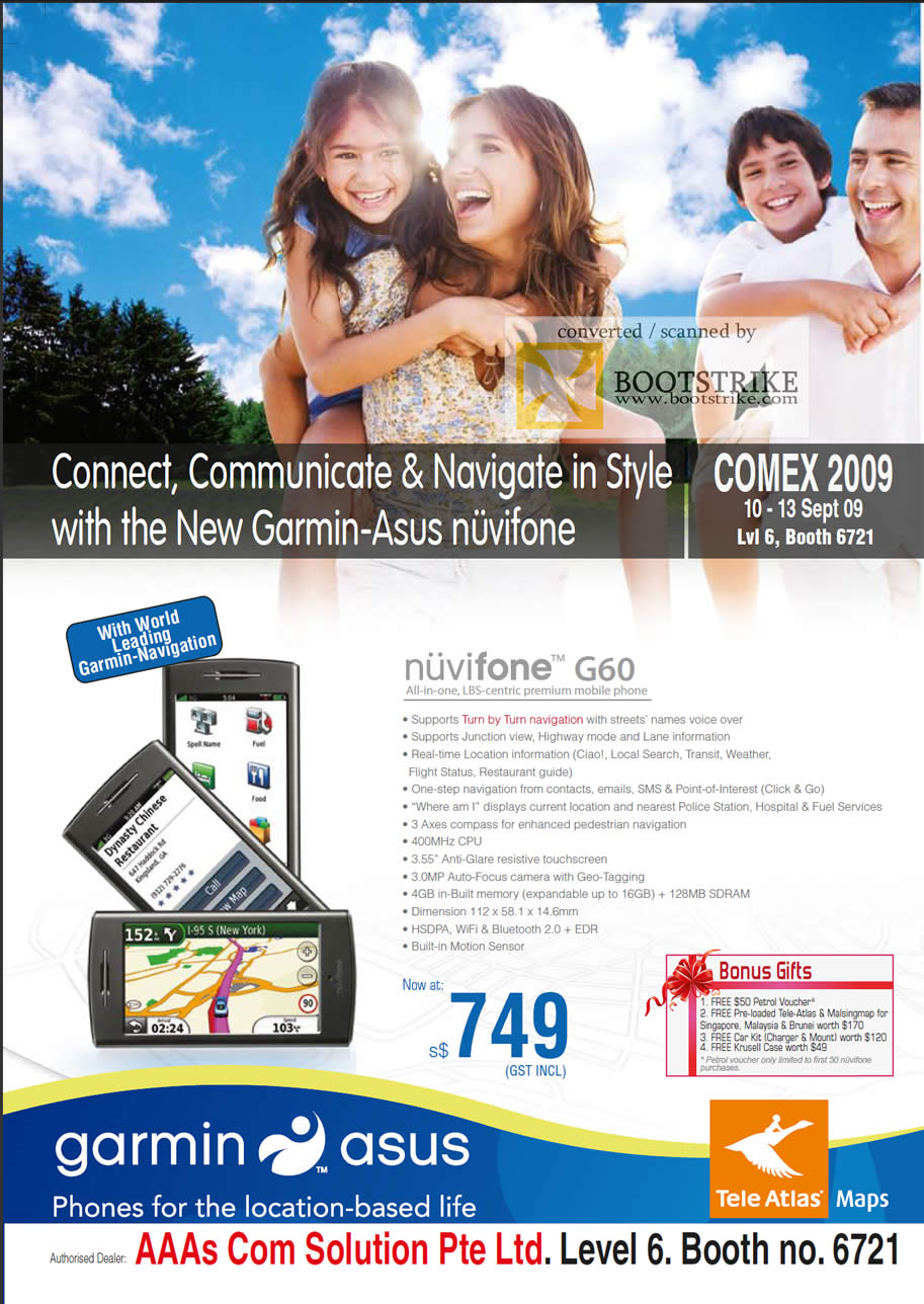 Comex 2009 price list image brochure of ASUS Garmin Nuvifone G60