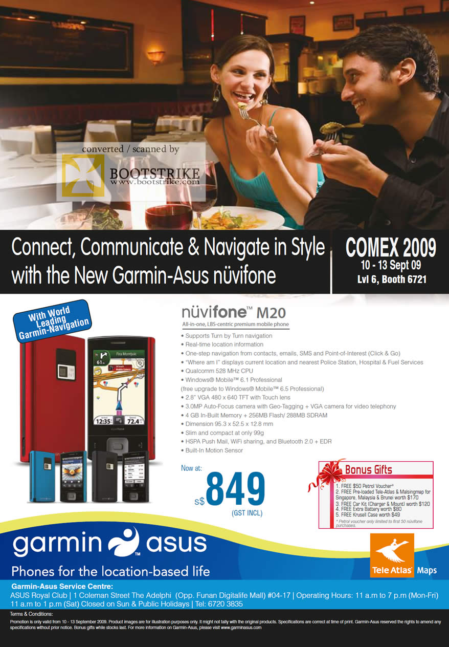 Comex 2009 price list image brochure of ASUS Garmin Nuvifone M20